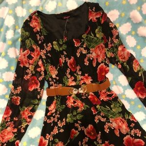 Floral/Black, fully lined, jewel belted dress NWT